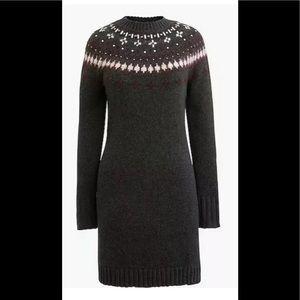 J crew fair isle xl sweater dress new grey knit